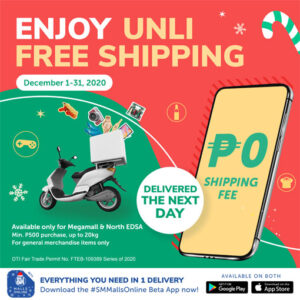 Shop via SM Malls Online mobile app and get free shipping this December! 2020